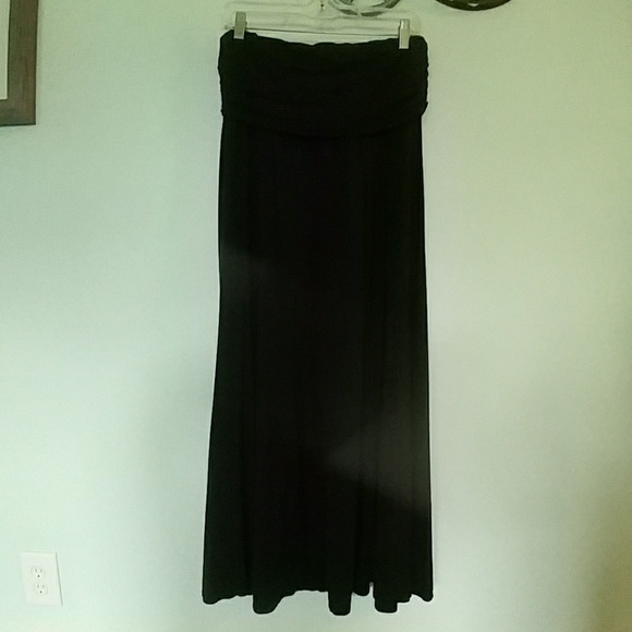 Max Studio Dresses & Skirts - Black Maxi Long Skirt with Fold Over Yoga Waist